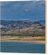 Mountain Lake Dark Clouds Looming Wood Print