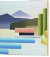 Mountain Lake Dock Abstract Acrylic Painting Wood Print