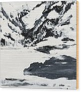 Mountain Lake In Black And White Wood Print