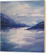 Mountain Lake In Blue Wood Print
