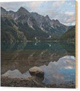 Mountain Lake Reflection Wood Print