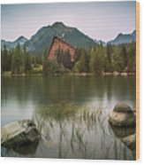 Mountain Lake Under Peaks Wood Print
