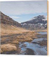 Mountain Landscape Iceland Wood Print
