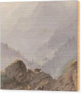 Mountain Landscape In Tirol With Chamois, Johannes Tavenraat, C. 1858 Wood Print