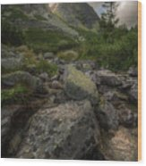 Mountain Landscape With A Creek Wood Print