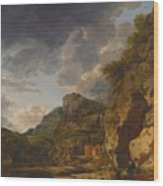 Mountain Landscape With River And Wagon Wood Print