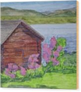Mountain Laurel By The Cabin Wood Print