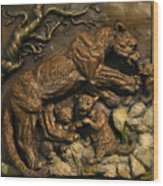 Mountain Lion Mother With Cubs Wood Print by Dawn Senior-Trask