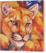 Mountain Lion Red-yellow-blue Wood Print