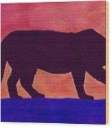 Mountain Lion Silhouette Wood Print