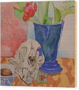 Mountain Lion Skull Tea And Tulips Wood Print