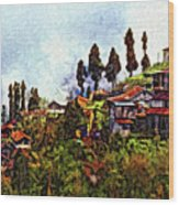 Mountain Living Impasto Wood Print