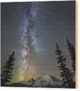 Mountain Milky Way Wood Print