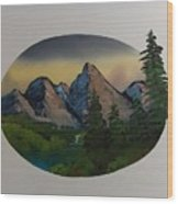 Mountain Oval Wood Print