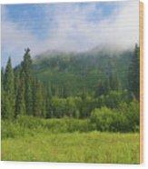 Mountain Peak Clouds Wood Print