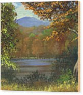 Mountain Pond Wood Print