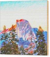 Mountain Range In Yosemite National Park Wood Print