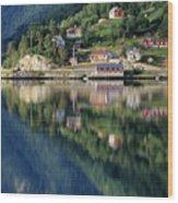 Mountain Reflected In Lake Wood Print