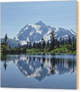 Mountain Reflection Wood Print