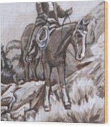 Mountain Ride Historical Vignette Wood Print