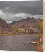 Mountain River Bridge Wood Print