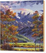 Mountain River Valley Wood Print by David Lloyd Glover