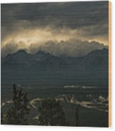 Mountain Storm Wood Print