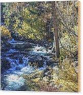 Mountain Stream In Fall Wood Print