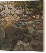 Mountain Stream With Boulders Wood Print