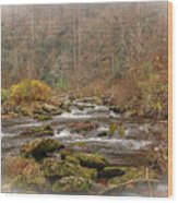 Mountain Stream With Vignette #2 Wood Print
