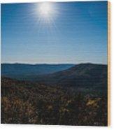 Mountain Sunburst Wood Print