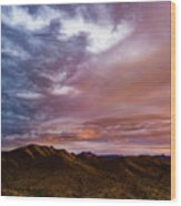 Mountain Sunset In New River Wood Print