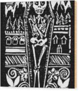 Mountain Town Skeleton Wood Print