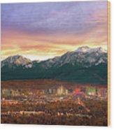 Mountain Twilight Of Reno Nevada Wood Print by Vance Fox