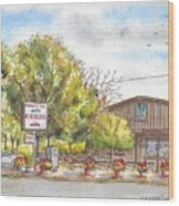 Mountain View Barbeque In Walker, California Wood Print