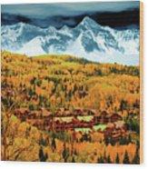 Mountain Village Autumn Wood Print