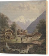 Mountain Village With Alpine Panorama Wood Print