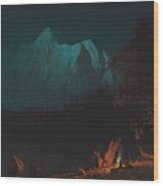 Mountainous Landscape By Moonlight Wood Print