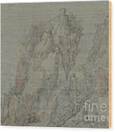 Mountainous Landscape With Castles And Waterfalls Wood Print