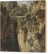 Mountainous Landscape With Waterfall Wood Print