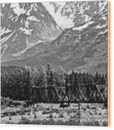 Mountains Alaska Bw Wood Print