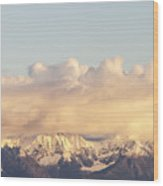 Mountains And Clouds Wood Print