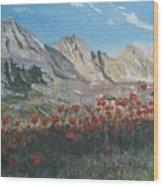 Mountains And Poppies Wood Print