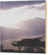 Mountains And Smoke, Ngorongoro Crater Wood Print by Skip Brown