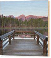 Mountains Behind Sprague Lake Wood Print