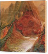 Mountains Fire Wood Print