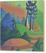 Hills In Spring Wood Print