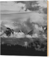 Mountains In The Clouds Wood Print