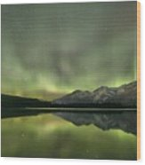 Mountains In The Northern Lights Wood Print