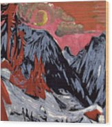 Mountains In Winter Wood Print by Ernst Ludwig Kirchner